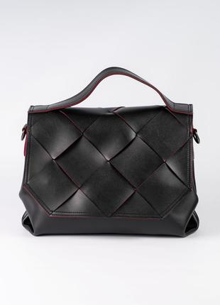 Сумочка портфель плетеная женская черная с клапаном деловая модная сумка через плечо