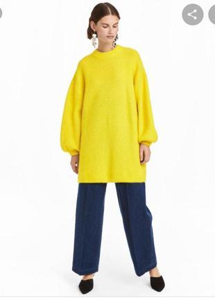 Мохеровый свитер h&m 170/96 cm, оверсайз , лимонного цвета