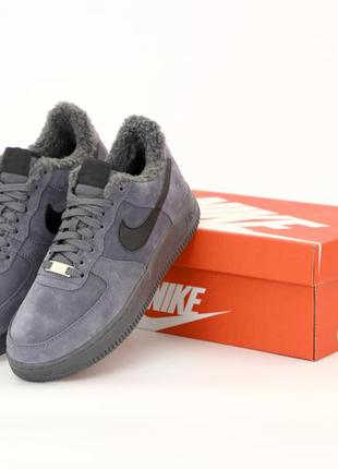 ❄️ зимние мужские кроссовки на меху nike air force 1 low grey