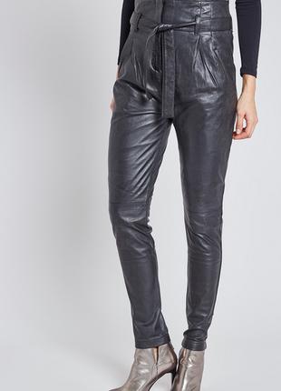Новые кожаные брюки belair, франция. высокая талия, галифе штаны из кожи