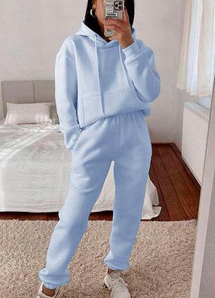Теплий трикотажний костюм на м'якому флісі з тринитки