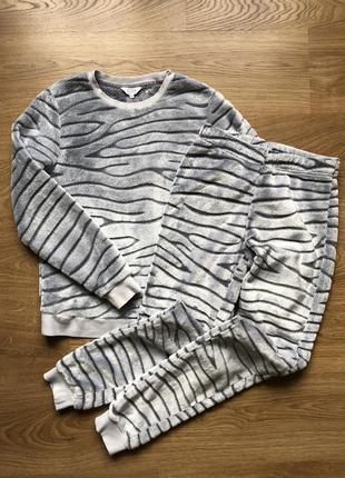 Костюм домашній, піжама, плюшевий, полоска зебра, сірий, теплий