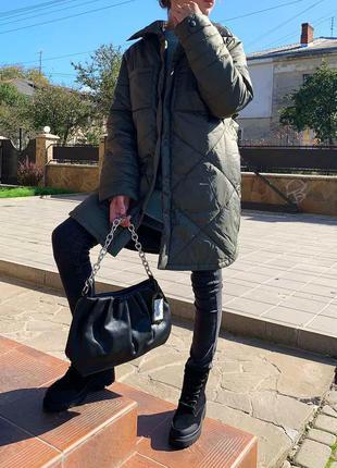 Хаки куртка удлинённая бомбер ветровка плащ пальто демисезонная осенняя весенняя