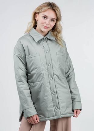 Тёплая осенняя курточка рубашка на кнопках