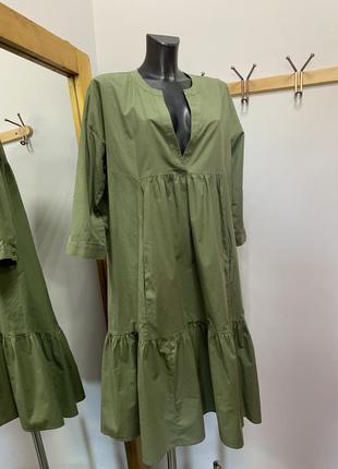 Хлопковое платье ярусное большого размера