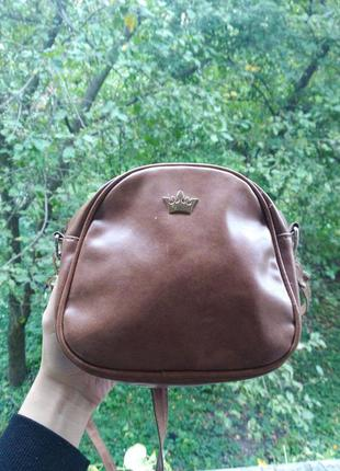 Сумка кругла, сумка круглая кросс-боди, коричневая сумка