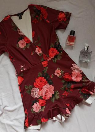 Цветочный бордовый ромпер от new look
