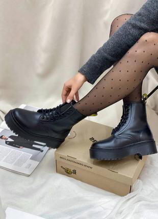 🍂 демисезонные женские ботинки dr. martens jadon total black logo