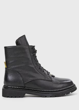 Оригінальні шкіряні жіночі черевики braska / женские ботинки в черном цвете браска