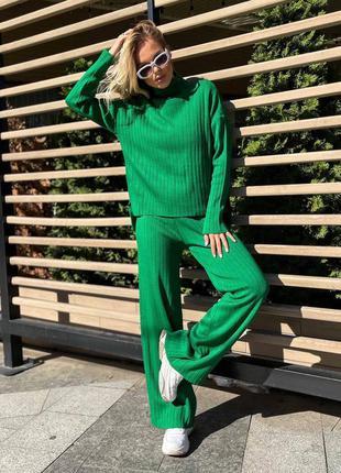 Теплый костюм со штанами клеш / свободный костюм / повседневный осенний костюм / свитер и штаны клеш / костюм акрил / костюм оверсайз