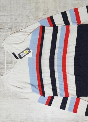 Новый льняной легкий джемпер свитер в полоску