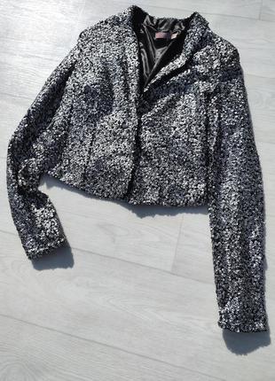 Блестящий серебристый вечерний пиджак расшитый пайетками saint tropez