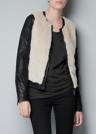 Куртка zara с мехом размер s-m