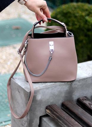Мокко/бежевая вмистительная сумка/малений шоппер с длинным и коротким ремешком