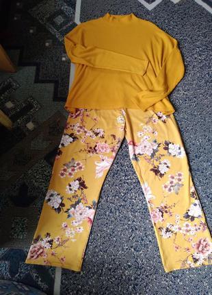 Уютний комплект цвета кари оверсайз (свитер + кюлоти)
