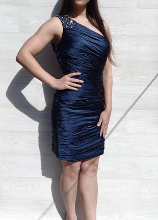 Шикарное элегантное вечернее синее платье на одно плечо немецкого бренда laona
