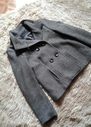 Жакет теплый укороченное пальто фирменное с овечьей шерстью р xs