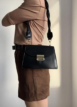 Сумка маленькая, чорная сумка, длинная ручка, женская сумка. новая черная