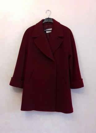 Тёплое шерстяное пальто кашемировое полупальто свободное