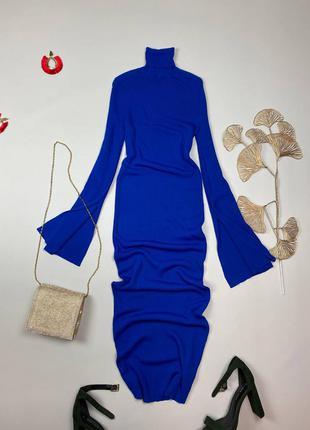 Синее миди платье в рубчик zara , нв рукавах разрезы, крой свободный