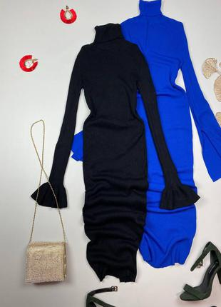 Черное миди платье в рубчик zara , плотный рубчик , рукав колокольчик