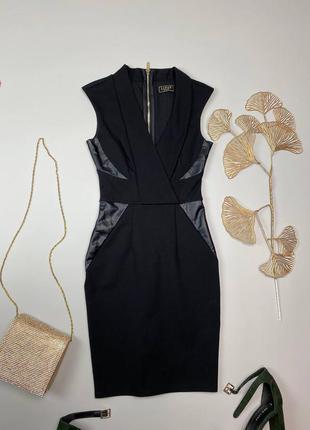 Черное плотное платье с вставками из эко кожи lipsy