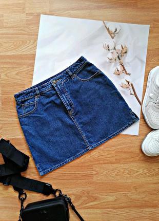 Женская джинсовая коттоновая синяя короткая юбка трапеция hennes - размер 44-46
