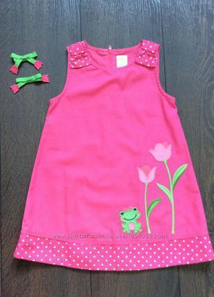 Сарафан gymboree -лягушка, розовый, размер 92-98, на 2 года