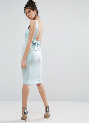 Asos сексуальное платье открытая спинка бант baby blue