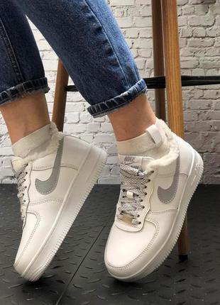 ❄️ зимние женские, мужские кроссовки на меху nike air force 1 low white reflective