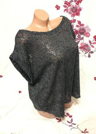 Блестящая блуза футболка брендовая металлизированная нить