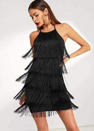 Чёрное платье с бахромой в стиле гетсби