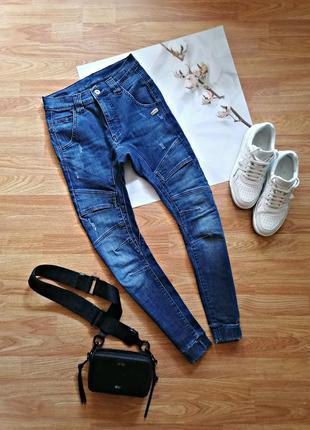 Женские подростковые молодежные синие стрейчевые джинсы - размер 42