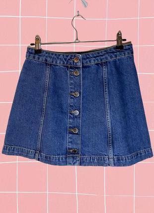 Джинсовая короткая мини юбка трапеция на пуговицах topshop