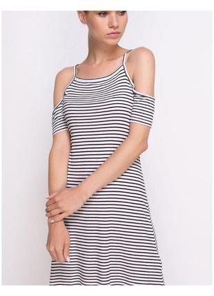 Актуальное платье в рубчик, в полоску, открытие плечи, морячка, стильное, модное