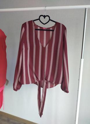 Блуза guess оригинал в полоску цвета марсала, бордовая