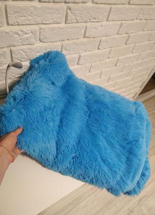 Яркое голубое покрівало, плед двойной травка