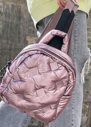 Жіночий стильний дутий рюкзак в кольорах рожевий