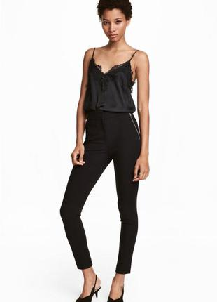Новые чёрные костюмные брюки зауженные по фигуре на высокой талии h&m xs s