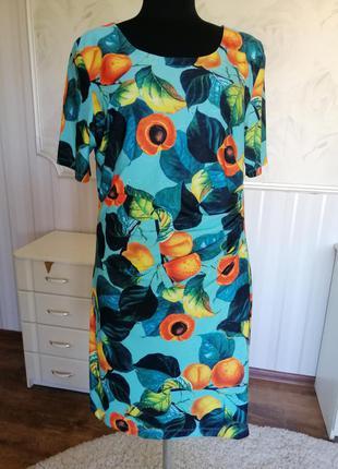 Платье трикотаж - масло в абрикоску, размер 20uk, наш 52-54.
