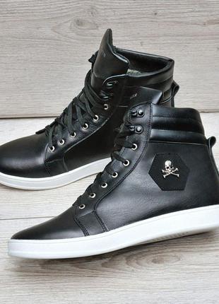Кожанные зимние ботинки густой набивной мех хорошо держит тепло внутри
