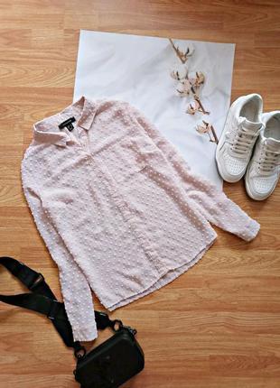 Женская брендовая нюдовая бежевая нарядная рубашка atmosphere - размер 46