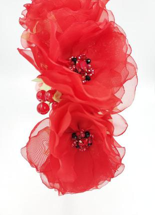 Обруч под вышиванку яркий обруч с красными цветами