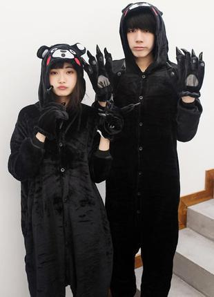 Кигуруми пижама цельная мужская женская медведь кумамото из вельсофта