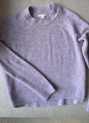 Вязанный лиловый свитер джемпер hm