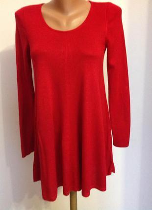 Красная вискозная туника- короткое платье . /s- m/ brend phase eight