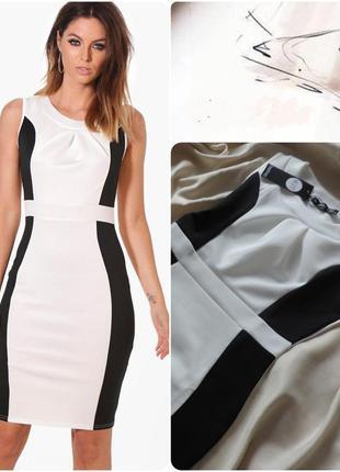Англия платье с вставками monochrome оригинал boohoo / плаття contrast pleat cream