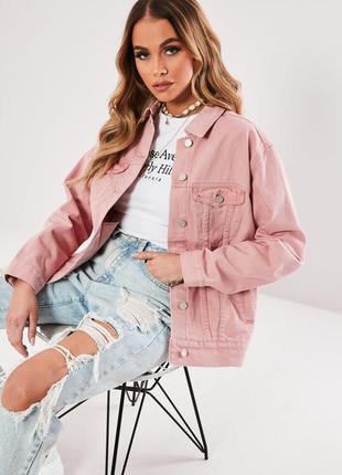 Розовая джинсовая куртка оверсайз asos 🔥 с замерами