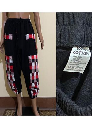 Хлопковые штаны джоггеры в геометрический принт