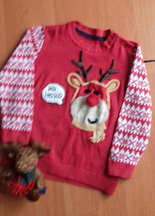 Классный новогодний свитер с оленем на 3-4 года.